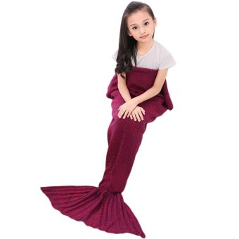 "yugos Crochet Mermaid Tail Blanket for Kids Teens Adult,Crochet Knitting Blanket Seasons Warm Soft Living Room Sleeping Bag Best Birthday Christmas Gift ""20x35"" Inch,Rose Red - intl"