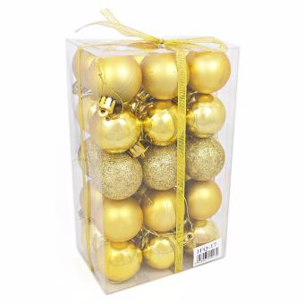 Yuletide Christmas Balls Round Shiny Multi-Texture Christmas DecorSET OF 30 (Medium, 5cm)