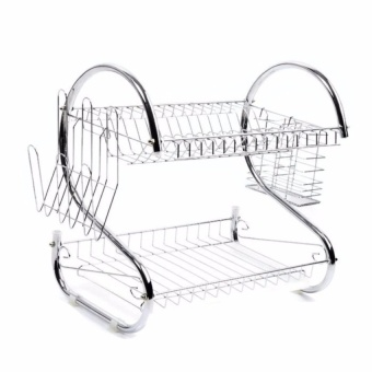 Zover High Quality Chrome-Plated 2-Layer Dish Drainer Durable Steel(Silver)