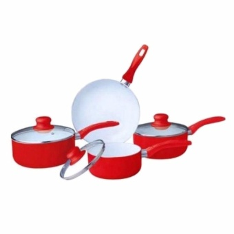 Zover High Quality Easy to Use Ceramic Pan Induction Base Set of 7(Red)