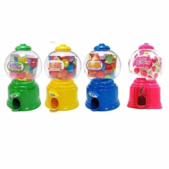 Zover Mini Candy Bubble Gumball Dispenser with Coin Bank Great forParty Favors Set of 4