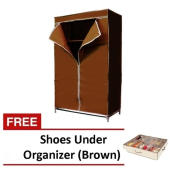 Zover Portable Closet Storage Organizer Clothes Wardrobe withShelves (Brown) with Free Shoes Under Organizer (Brown)