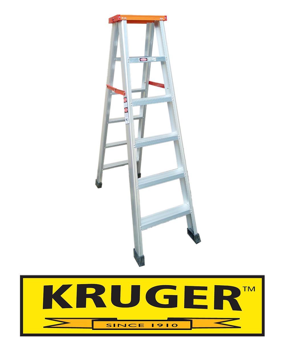 Kruger A-Type Aluminum Ladder, A-12106L (2x6 Steps)