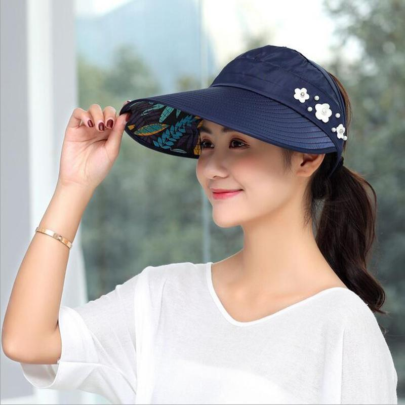 1d01f53c Specifications of COD Hot Women summer Sun Hats with big heads Sun Visor  HatsCasual Folding Wide Summer Beach Protection Hat UV Travel Sun Ladies