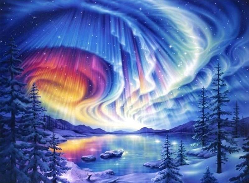 c8ebca251c 5D Aurora Borealis Diamond Painting, DIY Diamond Paintings - Fully Beaded -  SQUARE DIAMONDS COMPLETE SET