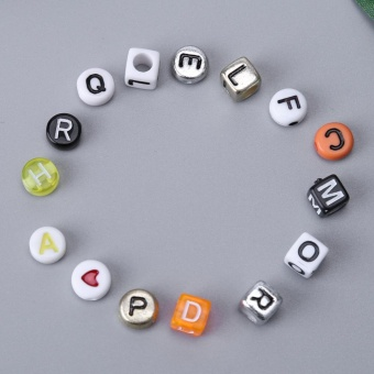 1 Set Acrylic Letters Beads Set Crafts DIY Alphabet Beads (ForJewelry) - intl - 3