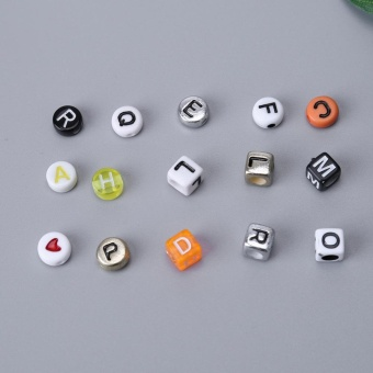1 Set Acrylic Letters Beads Set Crafts DIY Alphabet Beads (ForJewelry) - intl - 2