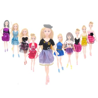 10 Set Fashion Girl Dolls Toys Summer Dresses Gown Outfits ClothesAccessories for Barbie Toys Children Girls Birthday Gift RandomStyle - intl
