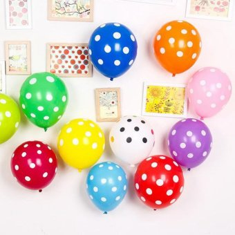 100 pcs/ lot Mixing 12-Inch Dot Balloon Corrugated Latex Balloonsor Party Wedding Birthday Decoration