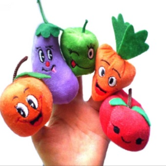 10PCS Christmas Fruits Vegetables Storytelling Props Finger Puppet Kids Children Toys