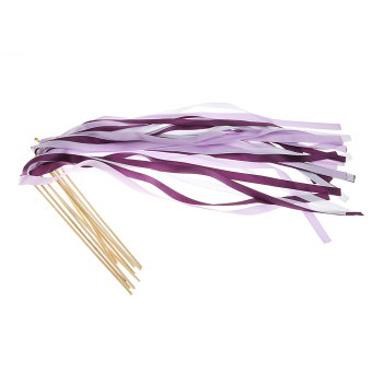 10pcs Fairy Twirling Ribbon Bell Wands Wedding Party Favor PurpleWhite - intl