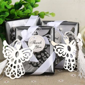 10pcs Guardian Angel Bookmark w/Tassel Baptism Girl Baby ShowerSouvenirs Event Party Supplies Wedding Favors Gifts ForGuest(White) - intl