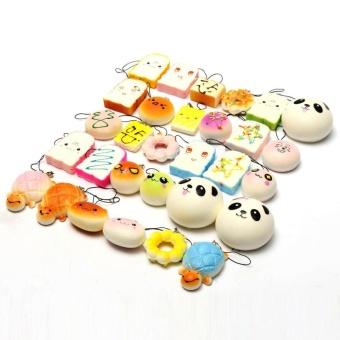 10Pcs Random Squishy Soft Panda/Turtle/Bread/Cake/Buns Phone Charm Straps