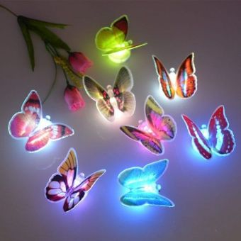 10Pcs/set Butterfly 3D Wall Sticker Colorful LED Night Lights LampKids Bedroom Decor