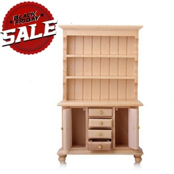 1/12 Dollhouse Miniature Furniture Multifunctional Wooden BookshelfBookcase Cabinet (Size: 10.3cm by 4cm by 16.9cm, Color: naturalcolor). - Intl