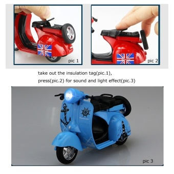 1:14 Scale Mini Diecast Vespa Scooter Motorcycles with Light&Sounds-Blue - 2