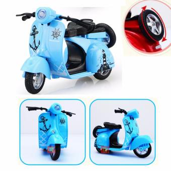 1:14 Scale Mini Diecast Vespa Scooter Motorcycles with Light&Sounds-Blue - 5