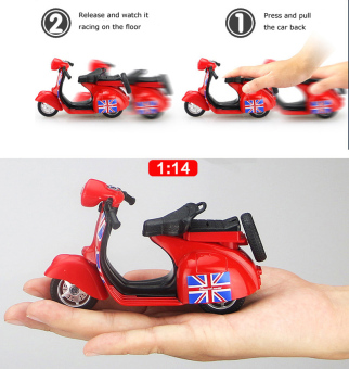 1:14 Scale Mini Diecast Vespa Scooter Motorcycles with Light&Sounds-Blue - 4