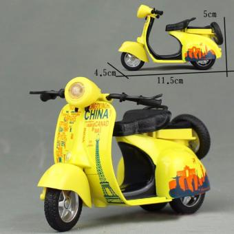 1:14 Scale Mini Diecast Vespa Scooter Motorcycles with Light&Sounds-Yellow