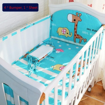 120*60CM Baby Crib Bedding Set Kids Bedding Set Newborn Baby Bed Set Crib Bumper Baby Cot Set Baby Bed Bumper Deer Blue - intl
