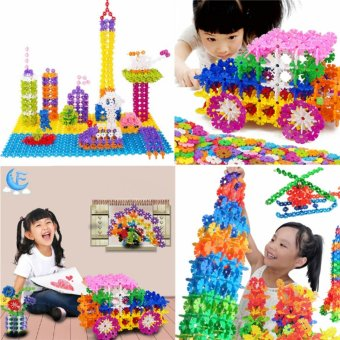 120x Child Kid Plastic Multicolor Snowflake Building Blocks Educational Toy Multicolor 2.5cm - intl
