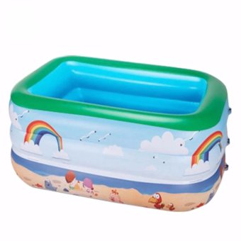 1.5M Upset Children's Inflatable Swimming Pool Three-Ring LargeFamily Theater Basin Marine Ball Pool Bubble at the end of theAdult
