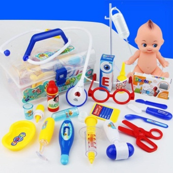 18Pcs Simulation Doctor Medicine Appliance Kit Pretend Play Toy Set,Blue - intl