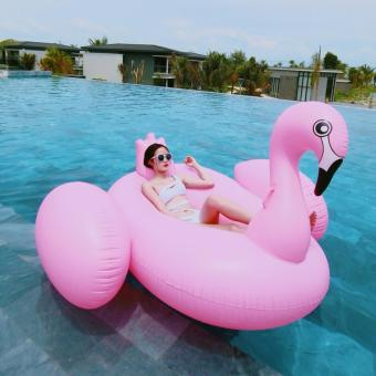 1.9M Giant Swan Inflatable Pink Flamingo Ride-On Pool Floating Toy- intl