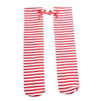 1Pair Cute Kids Baby Socks Children Leg Warmers Bowknot Cotton Stockings Socks-Red and white stripes (Intl) - picture 2