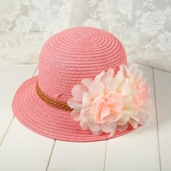 1Pc Baby Girls Hat Summer Flower Beach Outdoor Sun Hats Straw CapFor 2-7 years Kids (#1 Pink) - intl - 3