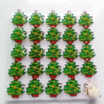 1PCS Christmas LED Flash Light Brooch Pin Badge Light Up Toys Christmas Tree - intl
