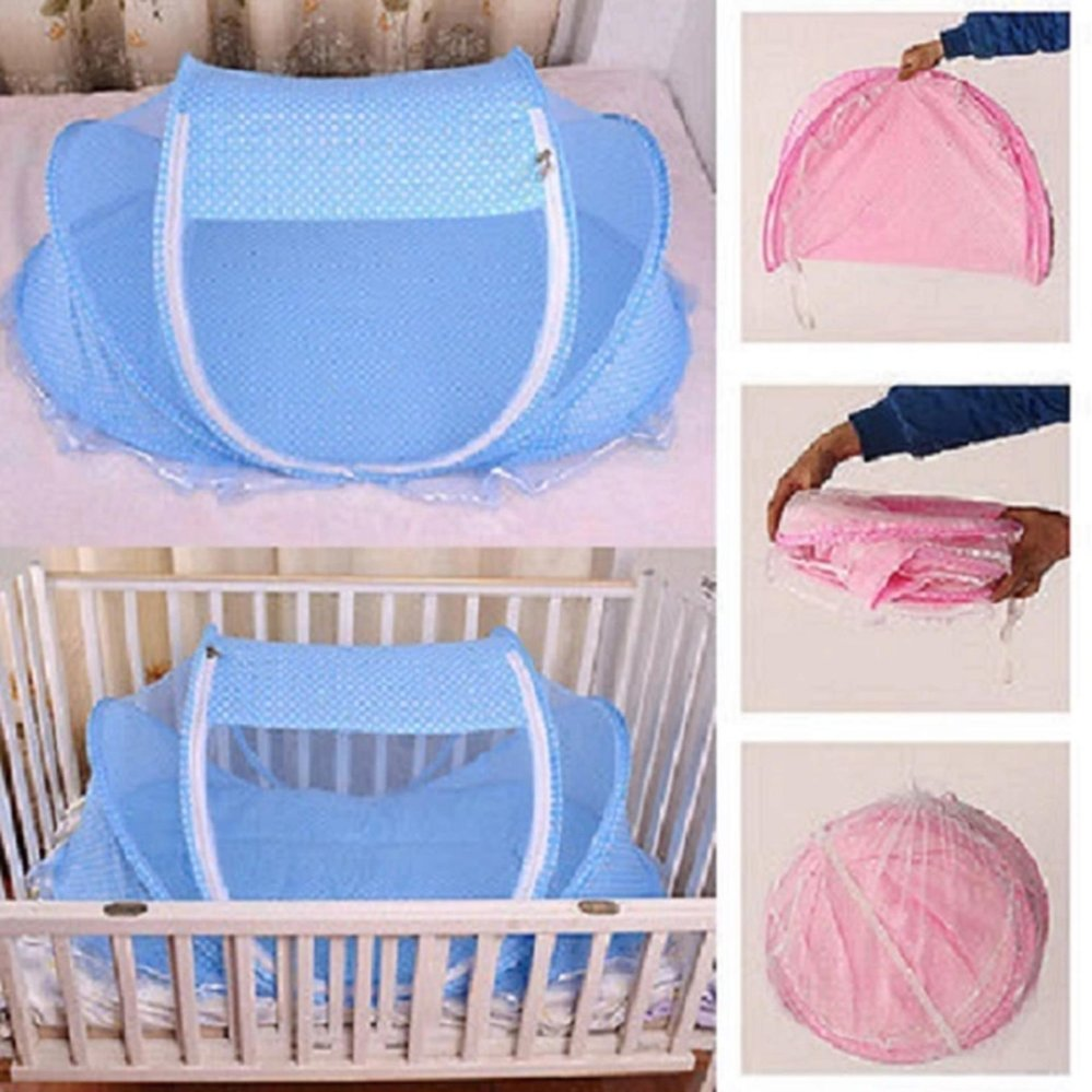 1pcs Crib Netting Portable Foldable Baby Kids Infant Bed Dot Zipper Canopy Mosquito Net Tent Blue ... & Philippines | 1pcs Crib Netting Portable Foldable Baby Kids Infant ...