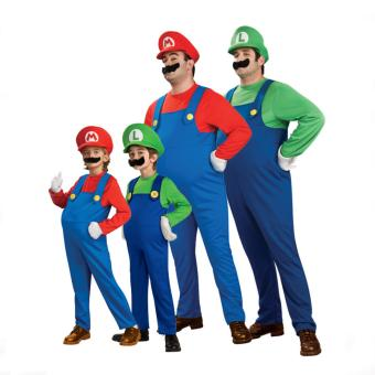 (1Set Adult Size L 175-185CM-Red)Funy Cosplay Party Dress Up Super Mario Adult Halloween Costumes for Men Women - intl - 2