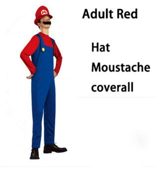 (1Set Adult Size L 175-185CM-Red)Funy Cosplay Party Dress Up Super Mario Adult Halloween Costumes for Men Women - intl