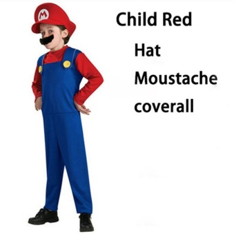 (1Set Kids Size M 115-125CM-Red)Children Funy Cosplay Party Dress Up Super Mario Halloween Costumes for Boys Girls - intl