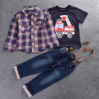 2016 Children's clothing sets for spring Baby boy suit Long sleeveplaid shirts+car printing t-shirt+jeans 3pcs suit set
