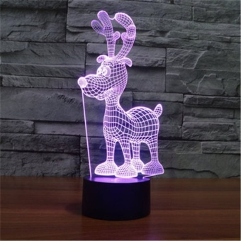 2016 Creative 7 Colors Cute 3D Christmas Deer Acrylic VisualLightLED Lamp Bedroom Table Decoration Light Kids Gifts 3D-TD138 - intl - picture 2