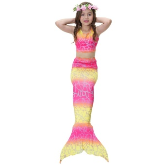 2017 Kids Girls Mermaid Swimming Swimmable Mermaid Tail SwimwearCostume For Swimming Beach Children Bikini Swimmable Suit PrincessMermaid Tails Monofin Fancy Dress Yellow Pink - intl
