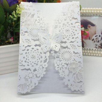 20Pcs Romantic Carved Flower Pattern Invitation Card Exquisite Hollow Out Cards Wedding Favor Party Supplies Decoration (White) - intl