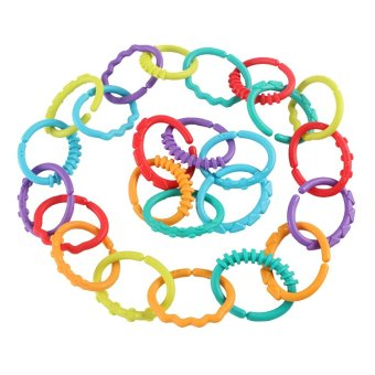 24 Pcs Set Colorful Rainbow Rings Baby Teether Baby StrollerHanging Rattles Toy - 3