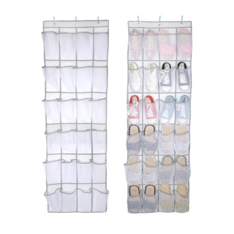 24 Pockets Transparent Door Hanging Bag Shoe Rack Hanger Non-wovenTidy Organizer Bedroom Hang Storage Bags 48*168 cm - intl