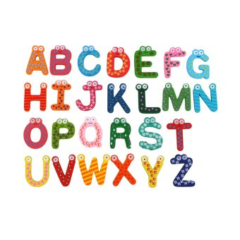 26pcs Letters Kids Wooden Alphabet Fridge Magnet Baby toys Child Educational Toy