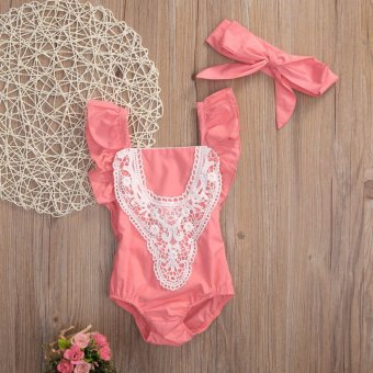 2PCS Cute New Fashion Newborn Baby Girl Lace Splice Romper ClothesInfant Bebes Lace Jumpsuit Sunsuit + Headband Outfit Clothing SetRed - intl