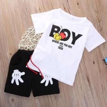 2PCS Kids Boys Tracksuit Outfits Letter Print T-shirt+Palm ShortsSport Clothes Set For 2-7Y Boys - intl - 2