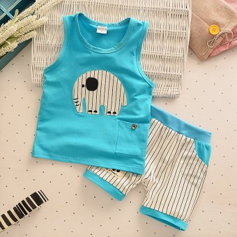 2pcs Kids Clothes Summer New Fashion Clothes Set Tank Top + Striped Shorts Childrens Toddler Boy Clothing Set Baby Clothes for Boys Blue - intl