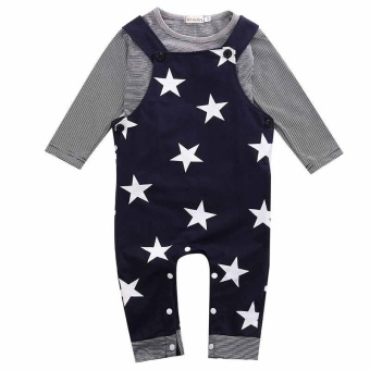 2PCS Kids Infant Baby Boys Girl Striped Shirt+Suspender Bib PantsOveralls Clothes Sets Outfits - intl
