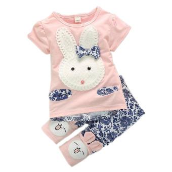 2Pcs Suit Baby Cute Rabbit Top+Short Pants Set Pink (Intl)