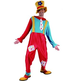 2PCS/Set Clown Cosplay Halloween Costumes for Adult MenJumpsuit+Cap Size 170-185CM - intl