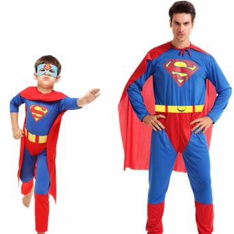 2PCS/Set Superman Costume Christmas Anime Cosplay for MenJumpsuits+Cape Size 165-185 CM - intl - 4
