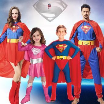 2PCS/Set Superman Costume Christmas Anime Cosplay for MenJumpsuits+Cape Size 165-185 CM - intl - 2